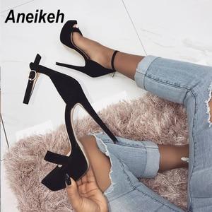 Image 2 - Aneikeh 2020 חדש 14.5CM פלטפורמת עקבים גבוהים סנדלי קיץ סקסי קרסול רצועת בוהן פתוח גלדיאטור המפלגה שמלת נעלי נשים גודל 42