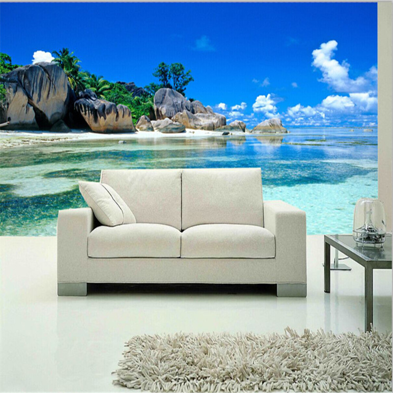 beibehang Mural Wallpaper Non-woven Bedroom Livig Room TV Sofa Backdrop Wall paper Ocean Sea Beach 3D Photo Wallpaper Home Decor fashion rustic wallpaper 3d non woven wallpapers pastoral floral wall paper mural design bedroom wallpaper contact home decor