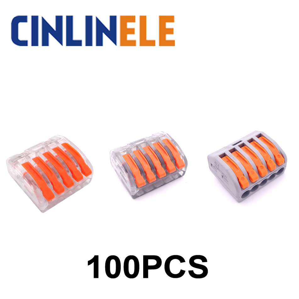 100pcs mini fast WAGO Connector 222-415 PCT-215 Universal Compact Wire Wiring Connector 5 pin Conductor Terminal Block 50pcs pct 102 wago 773 102 push wire connector 2 pin conductor terminal block cable connector