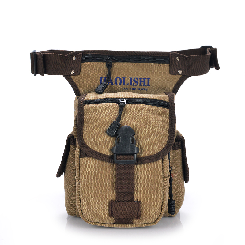 Hombres casual Canvas Riñoneras cintura bolsa paquete Bicicletas y Moto  muslo bolsa de pierna f01d177f9ea4