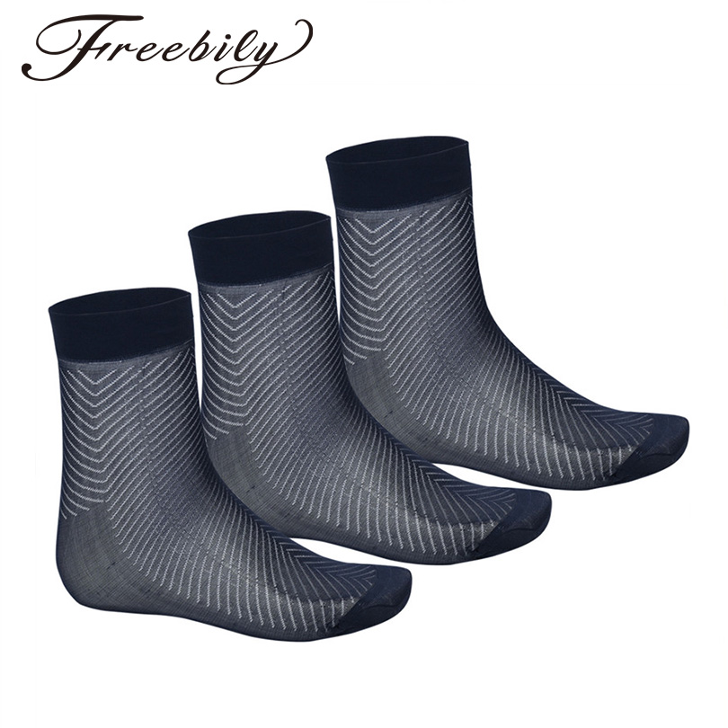 3 Pairs Socks Mens Casual Thin Breathable Silk Mid-Calf Crew Socks Fashion Mens Casual Summer Comfortable and Smooth Silk Socks