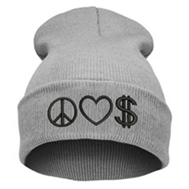 Designer Letter Hat PEACE LOVE MONEY Hip-hop Multicolor Knit Wool Hat Ladies Antumn and Winter Casual Outdoor Thick Warm Beanies лосьон лосьон mac l s fix 100ml