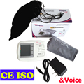 Arm Automatic Blood Pressure Meter Electronic Sphygmomanometer LCD Display 90 Memories with Power Adapter with Voice Function