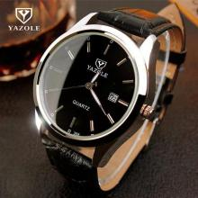 2017 Luxury YAZOLE Night Light Black Brown Äkta Leathe Analog Quartz Klänning Armbandsur Watch for Men Gentlemen 308
