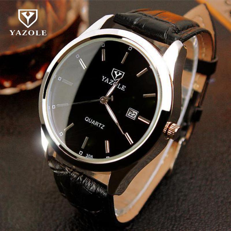 2018 Luxury YAZOLE Night Light Black Brown Genuine Leathe Analog Quartz Dress Wristwatches Watch for Men Gentlemen 308
