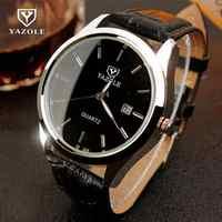 2018 luxe YAZOLE nuit lumière noir brun véritable en cuir analogique Quartz robe montres montre pour hommes messieurs 308