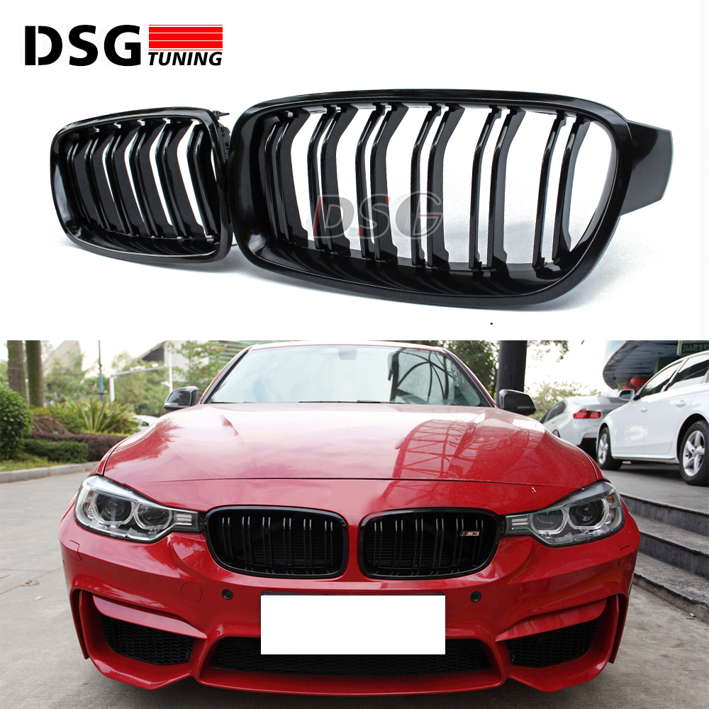 F30 M3 style grill black kidney grille styling bumper grid for BMW 3 Series 2012 + F30 F31 F35 316i 318d 320i 325d 1 pair gloss black front kidney grilles grill car styling racing grills replacement grilles for bmw f30 f31 f35 320i 2012