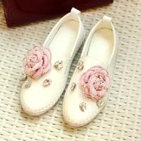 famous brand pink flower genuine leather flats woman luxury designer rhinestone espadrilles women crystal floral flat shoes