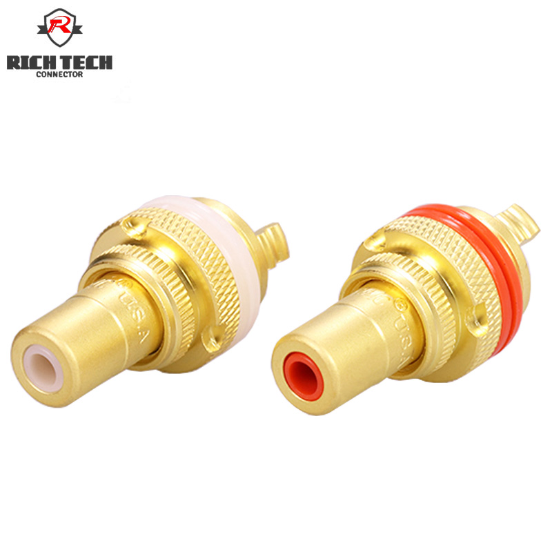 25pairs Gold RCA Jack Terminals pom insulation High end RCA Socket Adapter AV Terminal Phono Connector