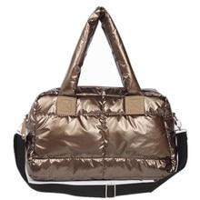2018 Новая зимняя Женская космическая Хлопковая Сумка повседневная женская сумка вниз модная Яркая сумка на плечо женская сумка Bolsas sac a main