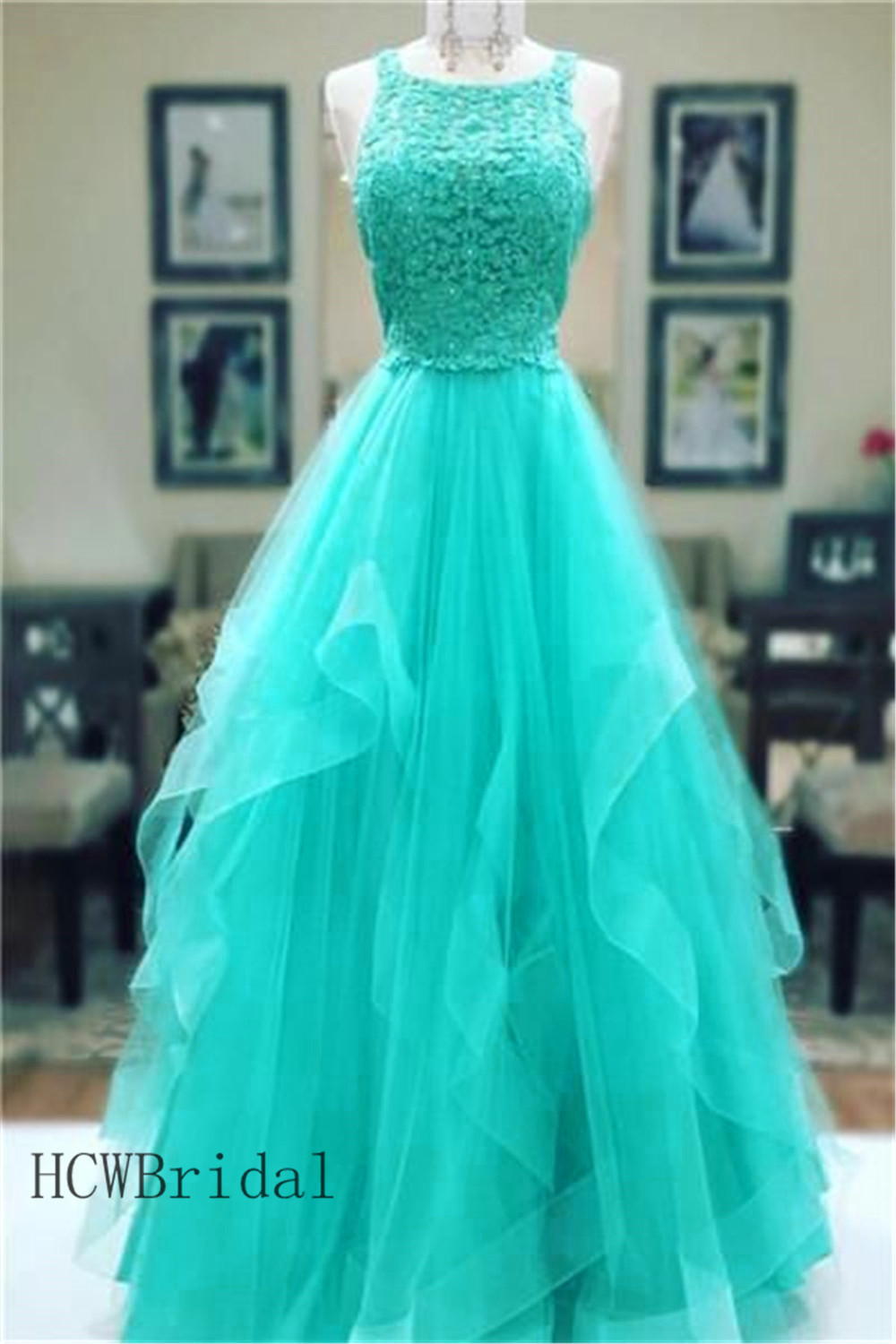 Wonderful Mint Green Tulle Lace   Evening     Dress   A line Floor Length Tiered Long Prom Gown 2019 Custom Made Women Occasion   Dresses