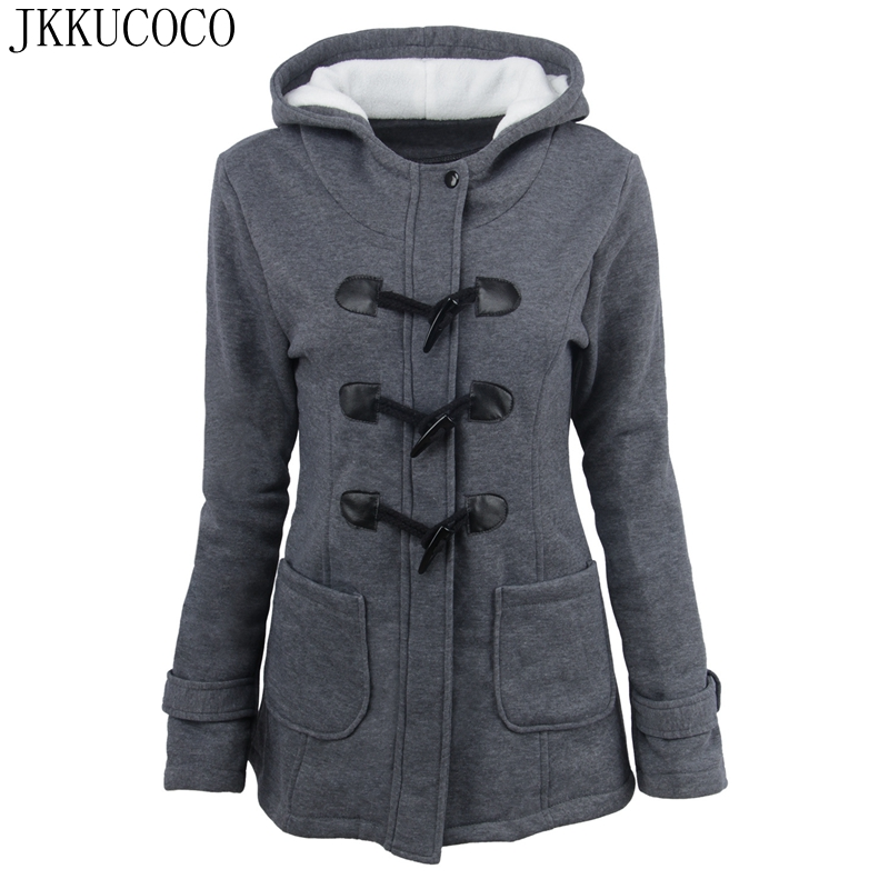 JKKUCOCO New Winter Coat Long Style horn button Zipper Women Jacket Warm Well Cashmere Fleece Cotton Jacket Women   Parkas   S-6XL