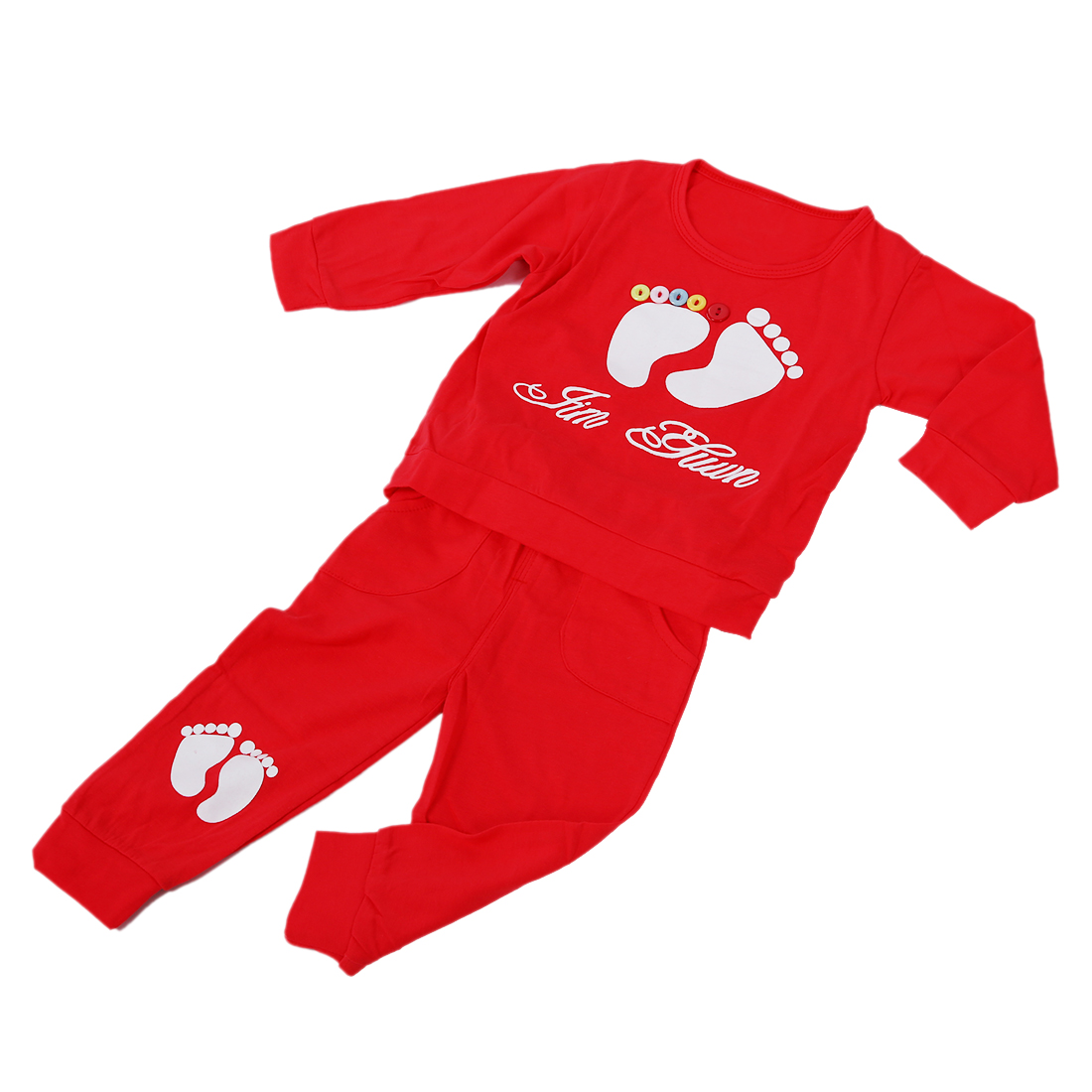 HOT SALE High Quality 100% Cotton baby clothing set,Toddlers children set,baby boys girls 2 pcs Footprints ,Hot sale-Red,73cm(