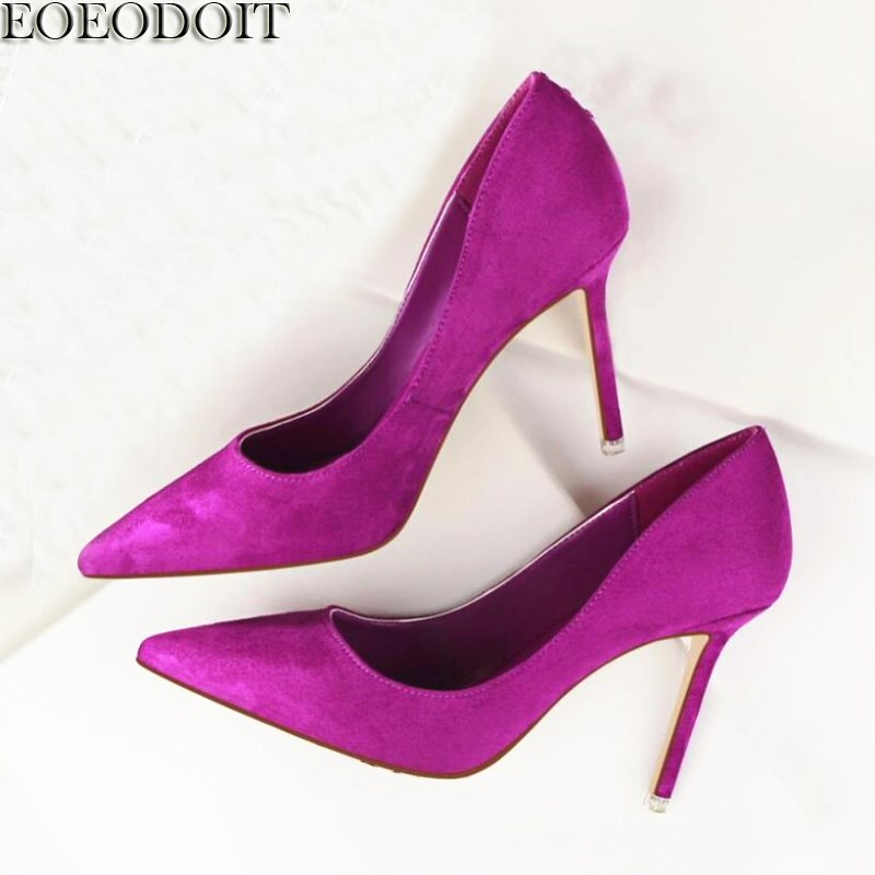 EOEODOIT Classic Pumps Stiletto Heels Flock Fashion Slip On Pointed Toe Ultra High Heel Party Club Wedding Pumps 9 COLORSEOEODOIT Classic Pumps Stiletto Heels Flock Fashion Slip On Pointed Toe Ultra High Heel Party Club Wedding Pumps 9 COLORS
