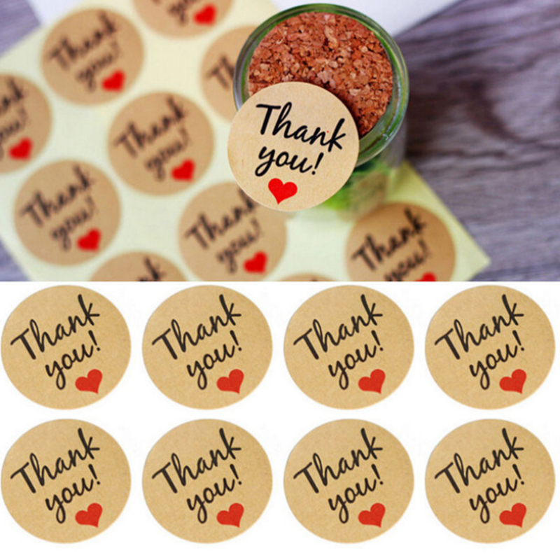 60pcs Handmade With Love Red Heart Love Thank You Round Scrapbooking Paper Labels Seal Sticker For You DIY Gift Package Sticker