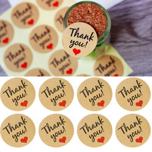 60pcs Handmade with Love Red Heart Thank you Round Scrapbooking Paper Labels Seal Sticker for You DIY Gift Package