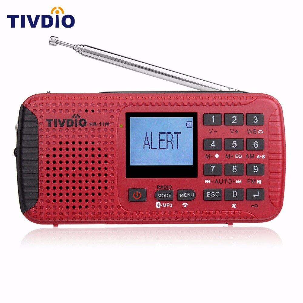 TIVDIO HR-11W Digital Recorder Portable FM/MW Hand Crank Solar NOAA Weather Emergency Alert Radio Station Bluetooth F9208C freeshipping tecsun pl 600 full band fm mw sw ssb pll synthesized stereo portable digital radio receiver pl600