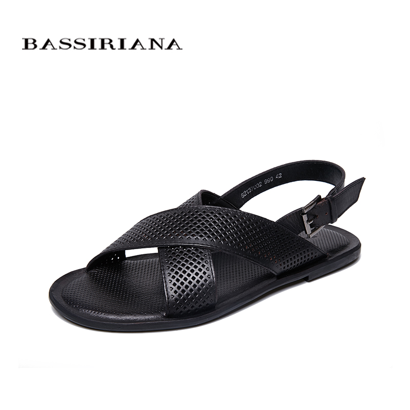 BASSIRIANA 2018 Summer New Beach Sandals Sole shoes men genuine Leather Cowhide Black Brown 39-45 sizes