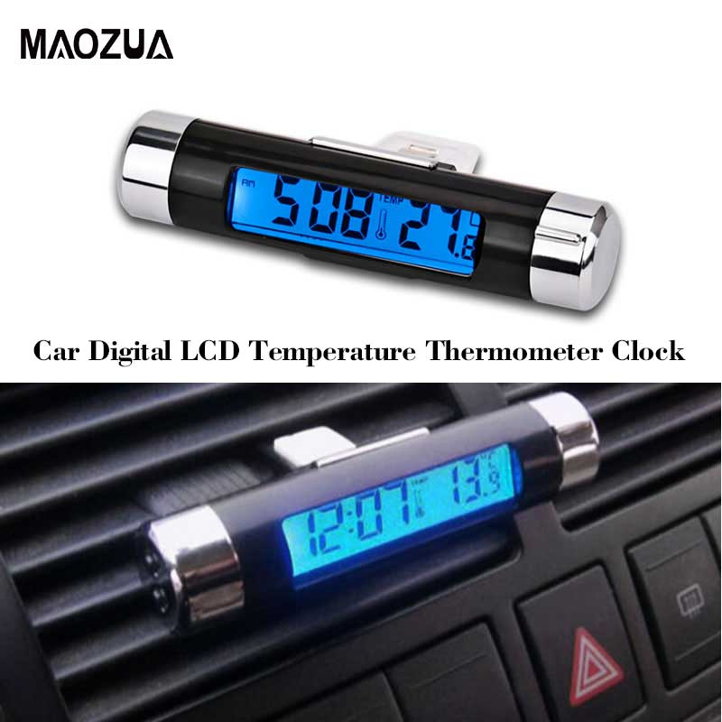 LCD Temperature Thermometer Clock 2 in 1 Car Digital s