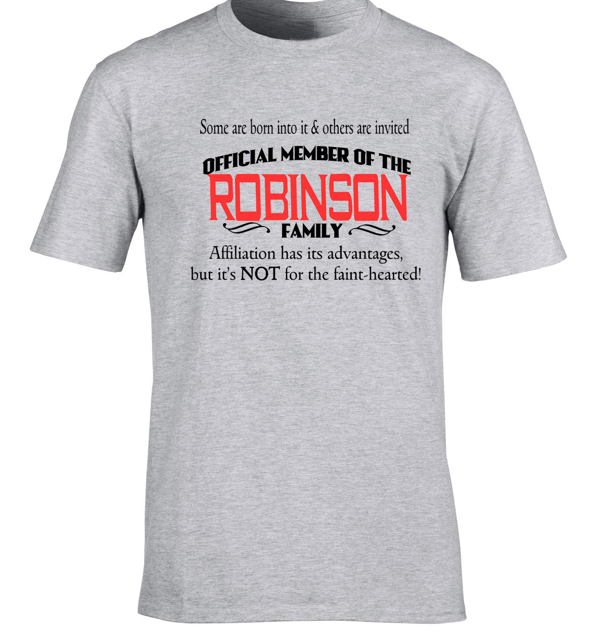 Robinson Family Surname T-Shirt Birthday Gift Any Name Can B Added 80th 30th Hipster Tees Summer Mens T Shirt Short Sleeve image