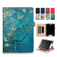 For IPad 9 7 2017 PU Leather Case Cover Colorful Print Protective Stand Skin For Apple