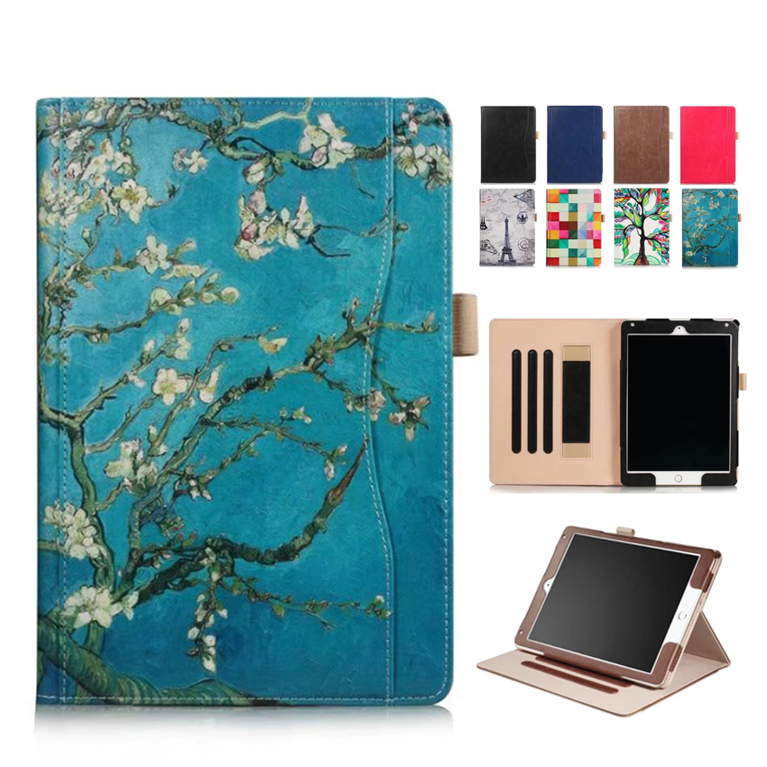 For iPad 9.7 2017 PU Leather Case Cover Colorful Print Protective Stand Skin For Apple iPad air 2 9.7'' Tablet Smart Case Fundas for apple ipad air 2 pu leather case luxury silk pattern stand smart cover