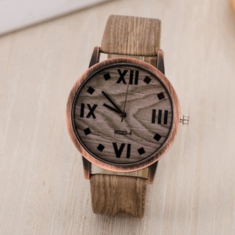 Roman Numerals Wood Style Wrist Watch
