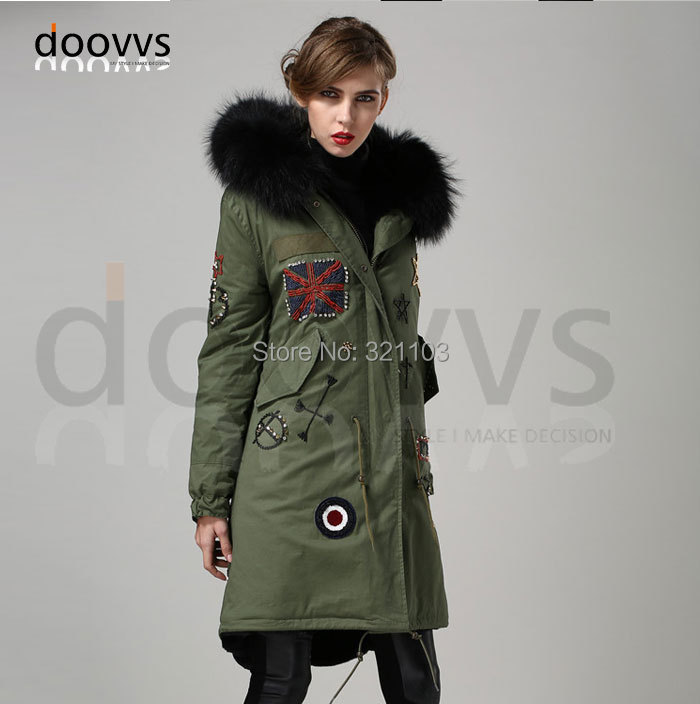 Black removed long style real fur collar parka, Beading long parka coat manufacturer wholesale price