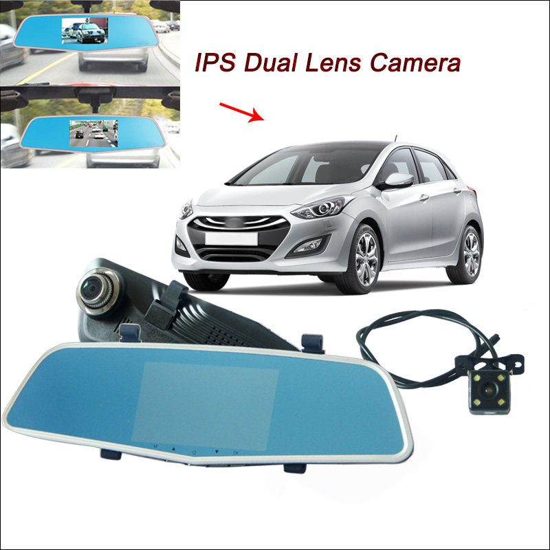 BigBigRoad Car DVR Rearview Mirror Video Recorder Dual Cameras 5 inch IPS Screen FHD 108 ...