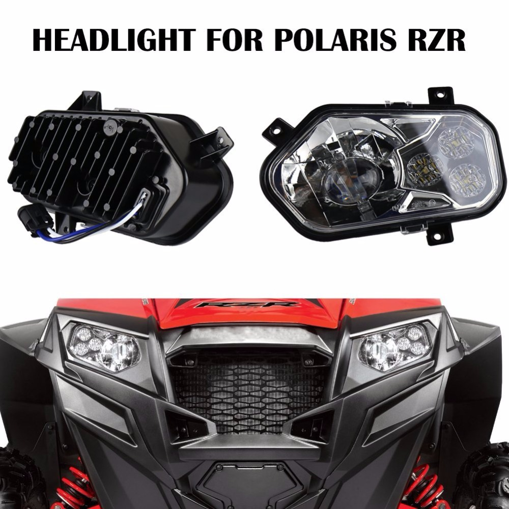 2 X Polaris Ranger and Sportsman LED Headlight Kit ATV UTV Light Accessories font b Projector