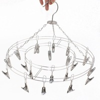 Stainless Steel 20 Clips Folding Underwear Hanging Bra Sock Laundry Hanger Drying Multifunctional Clothes Rack Dryer