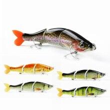 Mmlong 6.5in Pike Fishing Lure High Imitation Artificial Swim Bait 3 Segment Crankbait Lifelike Fishing VMC Hook Tackle MML18B-S