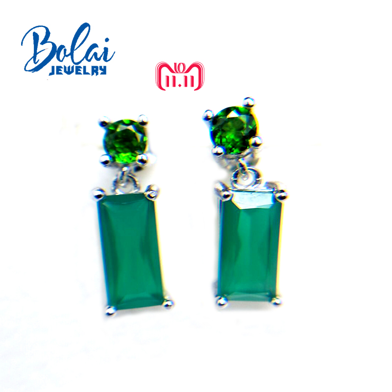 bolaijewelry,2018 new natural green gemstone agate and chrome diopside earring 925 sterling silver fine jewelry for women gift ethnic wind bracelets men and women decorations green agate 925 silver ball duobao string original jewelry