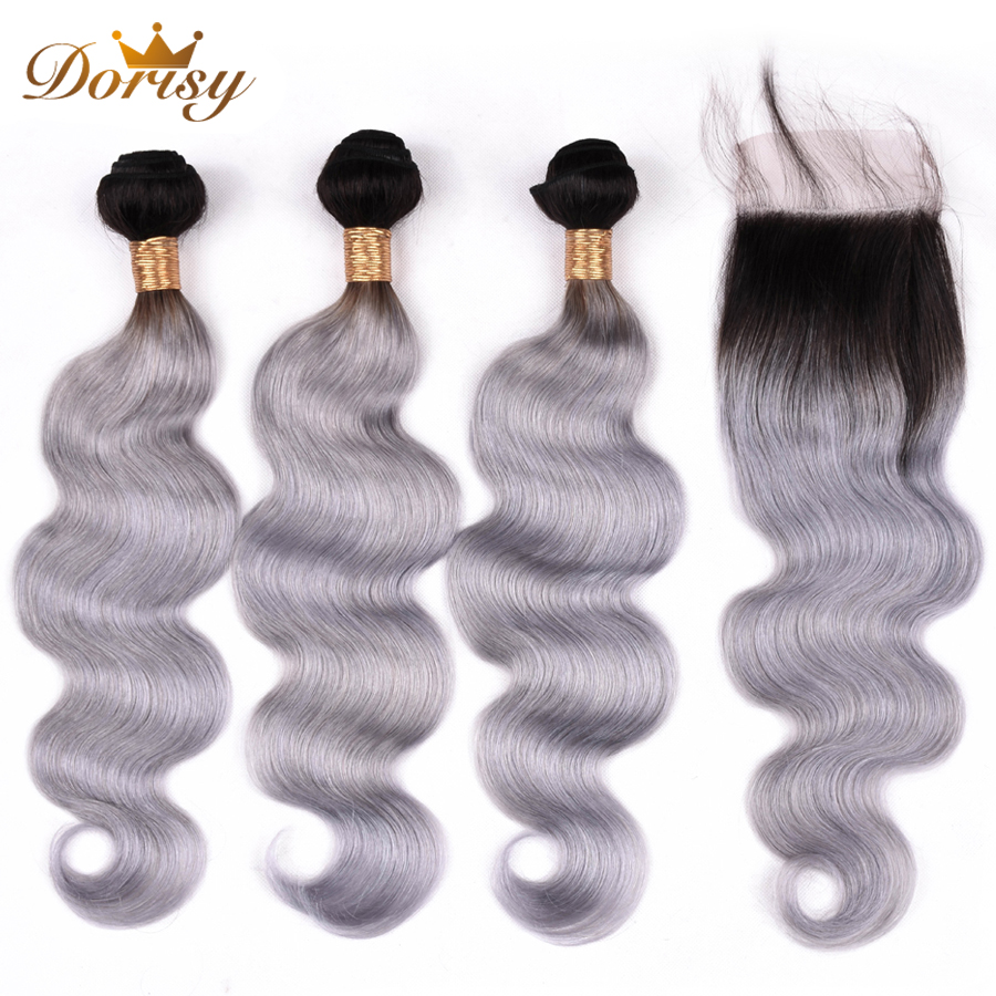 Pre Colored T1b/Grey Hair Bundles With Closure Ombre Remy Malaysia Hair Body Wave Bundles With 4*4 Lace Closure Dorisy Hair