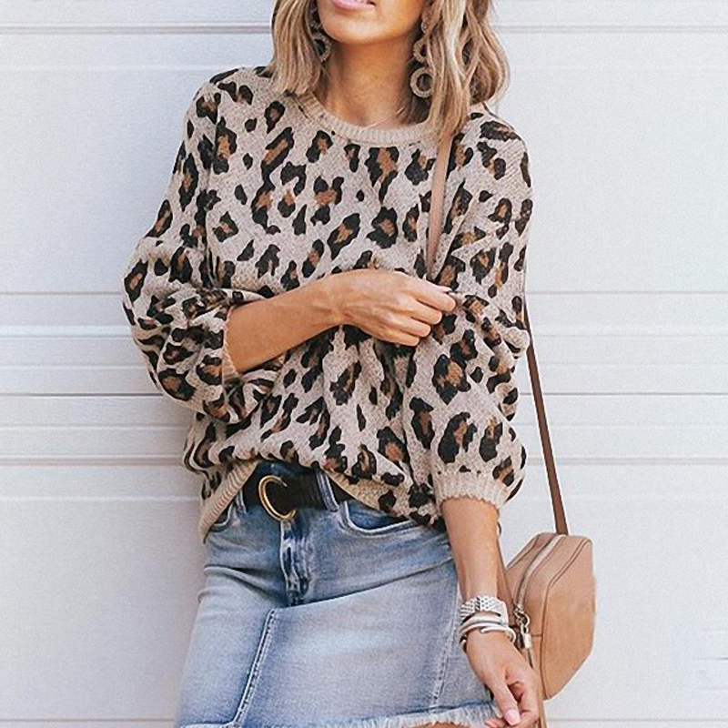 Sweaters Women Winter Pullover 2019 Jumpers Knitted Clothes Fashion Women Lantern Sleeves Loose Leopard Knit Sweater Women's