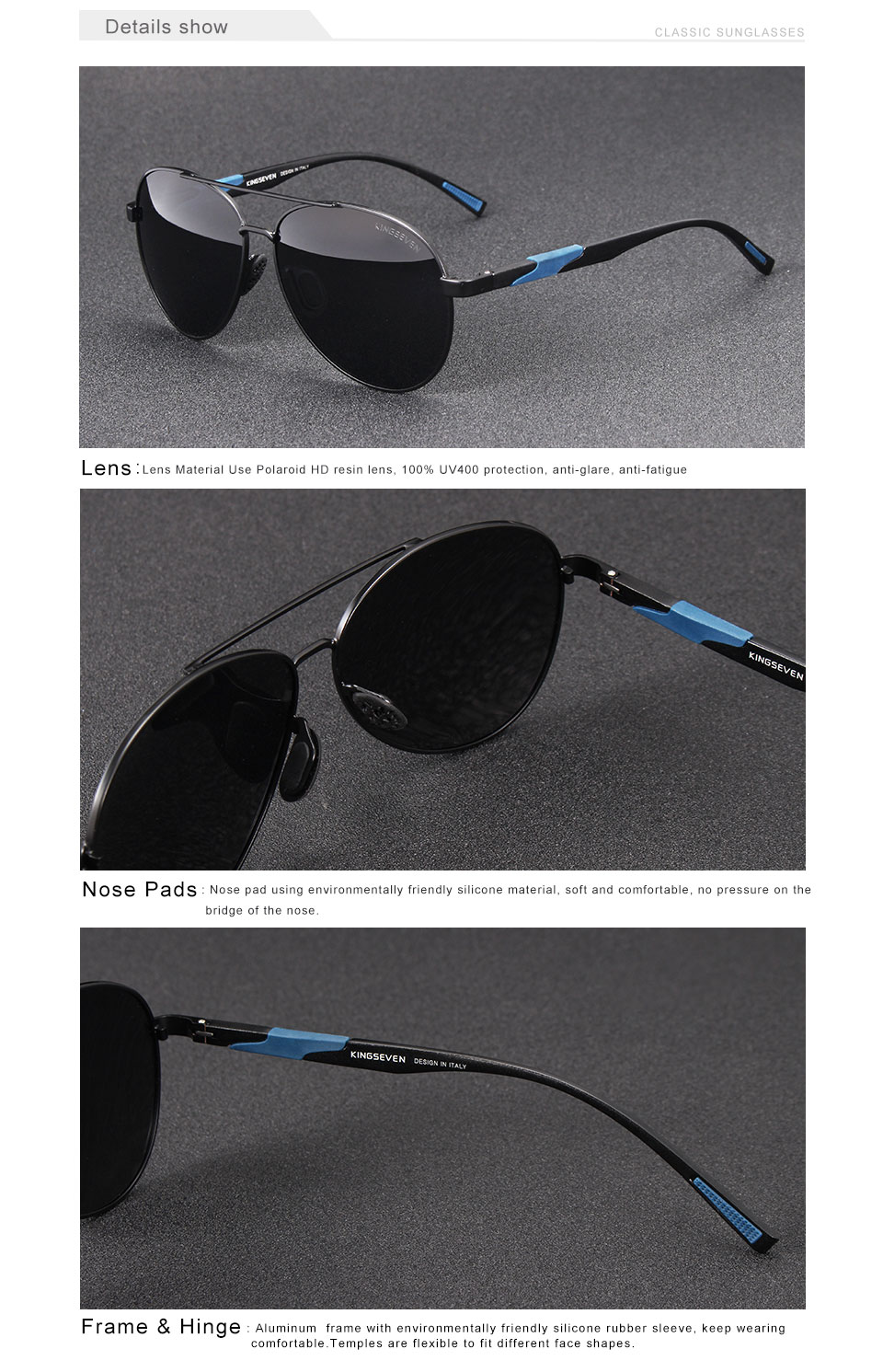 a6f7dfb336 KINGSEVEN 2018 New Aviation Gun Gradient Sunglasses Brand Men Design ...