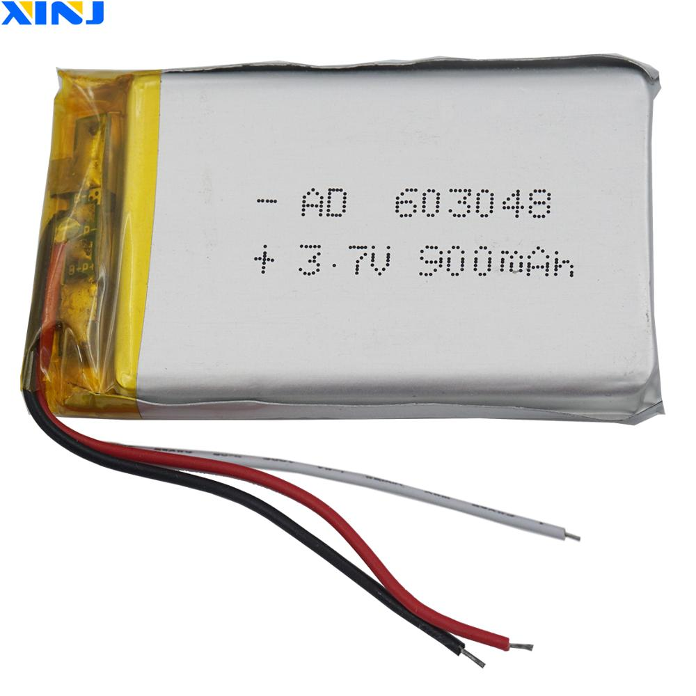 XINJ <font><b>3.7V</b></font> 900mAh 3wires for thermistor Lithium Polymer Li-Po <font><b>Battery</b></font> <font><b>603048</b></font> For Camera E-book PDA MID ipod Bluetooth device DVD image