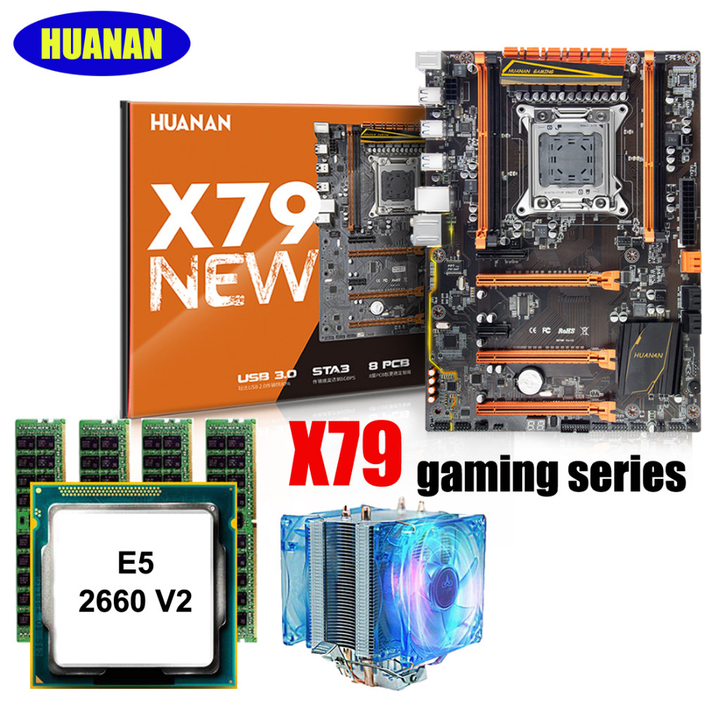 HUANAN ZHI X79 gaming motherboard with M.2 NVMe SSD slot discount motherboard with CPU Xeon E5 2660 V2 with cooler RAM 32G(4*8G) image