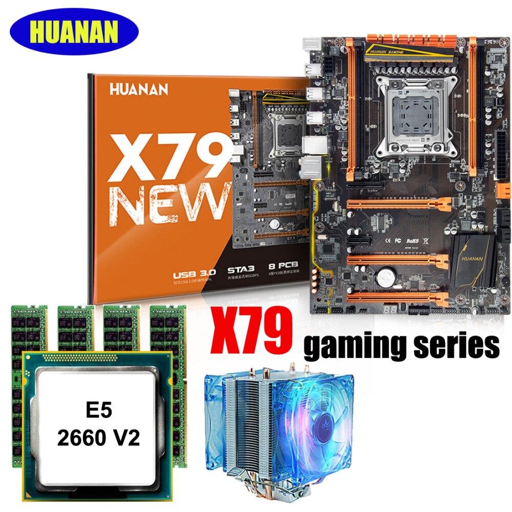 HUANAN ZHI X79 motherboard gaming com slot SSD NVMe M.2 desconto motherboard com CPU Xeon E5 2660 V2 com refrigerador RAM 32G (4*8G)