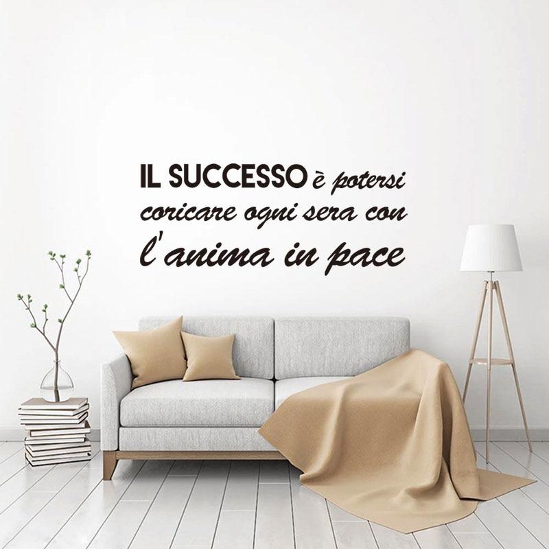 Italian Il Successo Vinyl Wall Sticker Mural Decals Wallpaper for Living Room Art Home Decor House Decoration 29 cm x 69