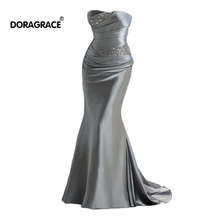 цена на Doragrace Elegant Strapless Lace-Up Chapel Train Mermaid Evening Gowns Silver Evening Dresses