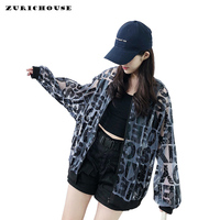 ZURICHOUSE Perspective Jacket Women Letter Print Hooded Bomber Jacket Thin Cardigan Coat Female Summer jackets Harajuku Style