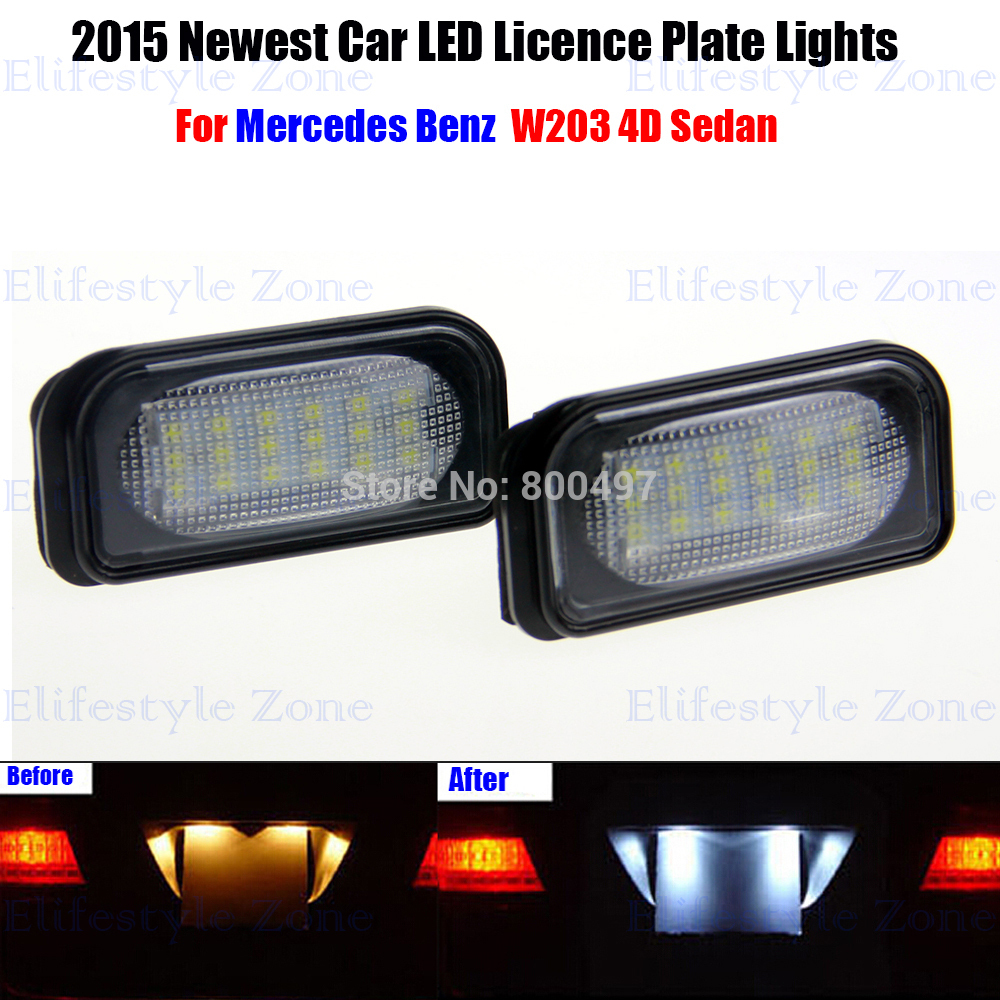 2 x LED Number License Plate Lamps OBC Error Free 18 LED For Mercedes Benz W203 C240 C230 C55 AMG C320 C350 C280 C43 C32 AMG 2 x led number license plate lamps obc error free 24 led for bmw e39 e80 e82 e90 e91 e92 e60 e61 e70 e71