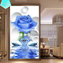 5D DIY diamond painting crystal Flowers embroidery patterns mosaic full Square Rhinestone larger size blue rose swan Pictures