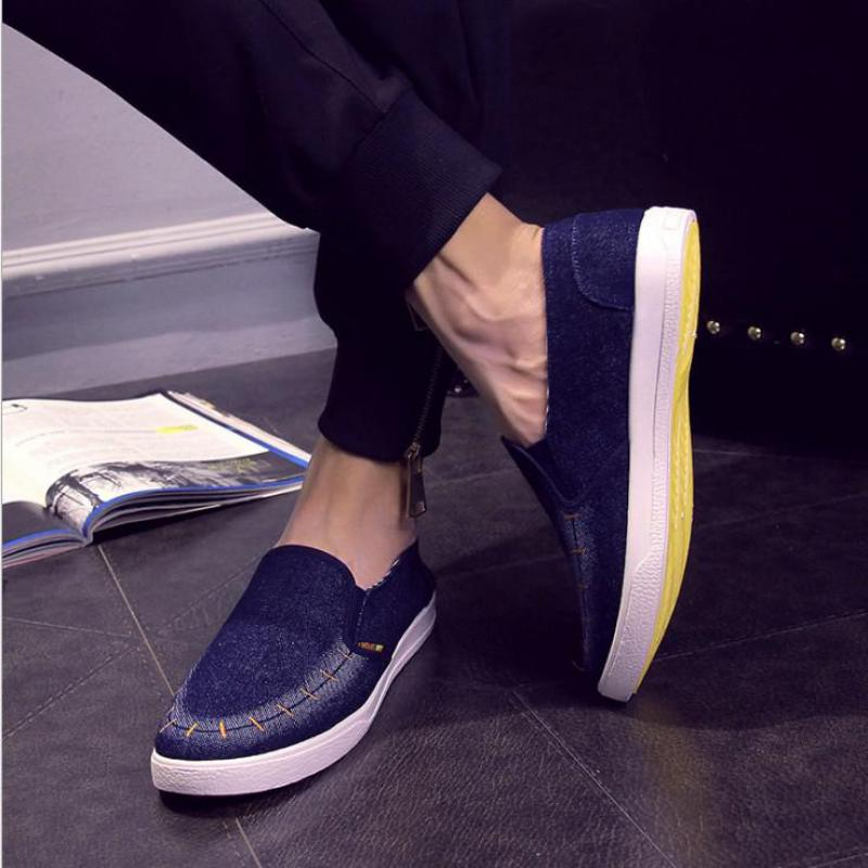 2017 New Fashion Embroidered Mens Shoes Casual Flats Classic Denim Blue Canvas Men Loafers Slip-on Flat Sapato Masculino
