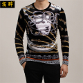 Snake demon Medusa totem printing quality gold velvet t shirt 2016 Autumn&Winter new European fashion style t shirt men M-5XL