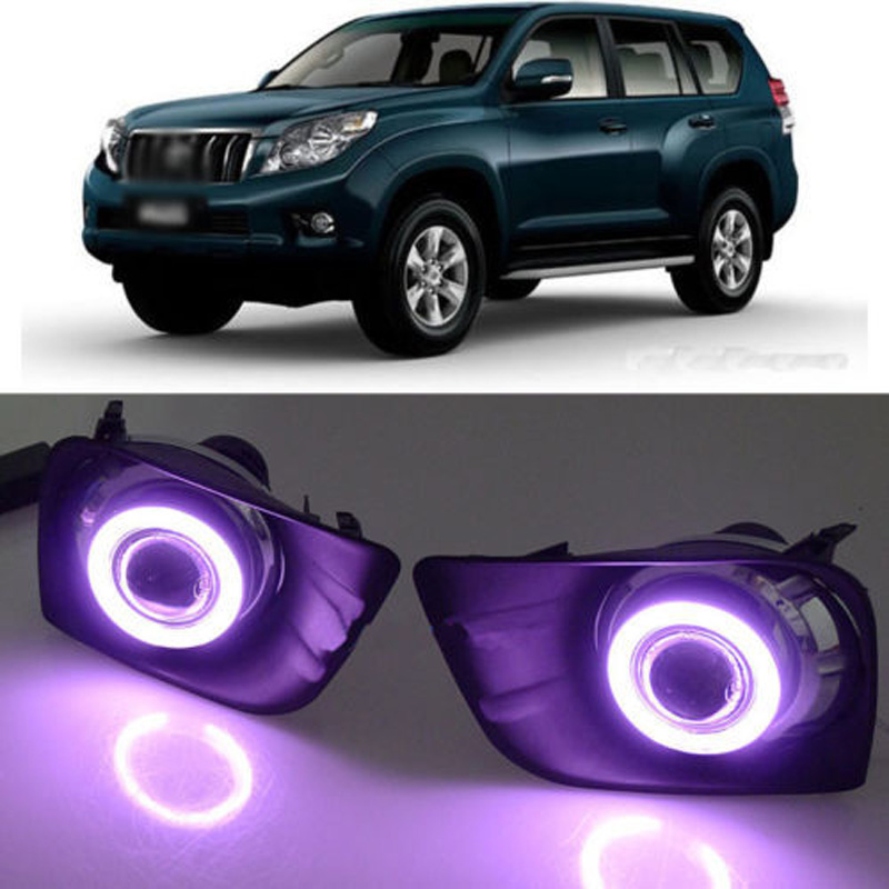 Ownsun Super COB Fog Light Angel Eye Bumper Projector Lens for Toyota Land Cruiser 150/Prado 4000/FJ150 ownsun superb u shape led headlight angel eye projector lens for vw tiguan 2010 2012 model