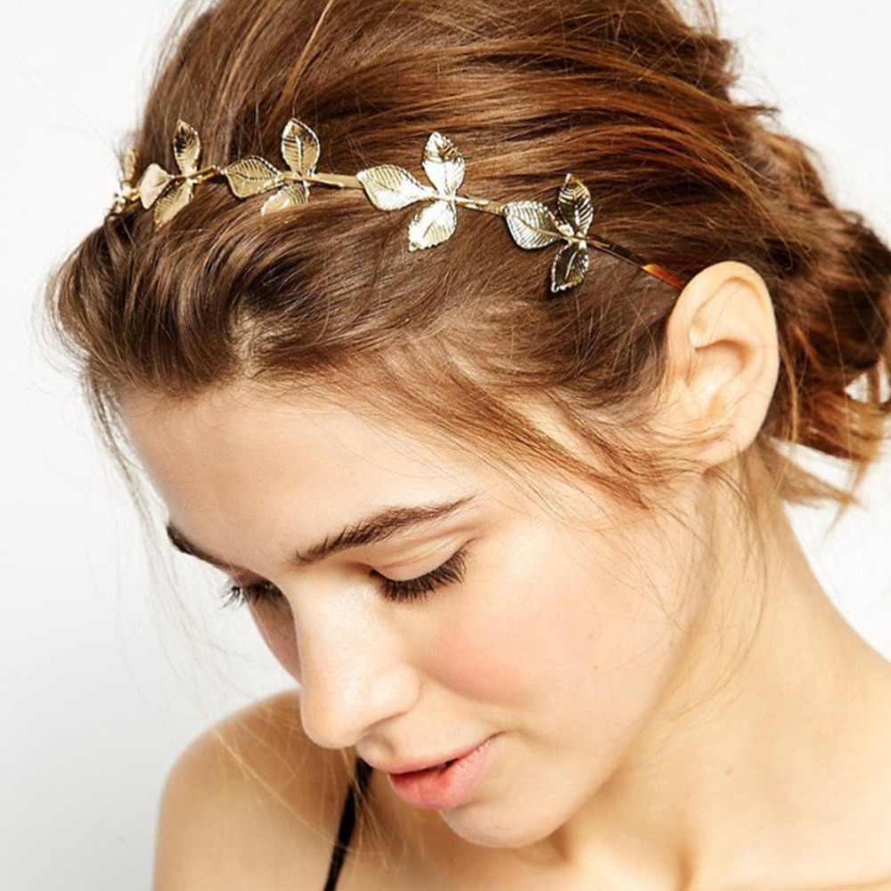 M MISM Fashion Women Headband Gold Metal Leaves Bow-knot Hairband Girl Jewelry Female Women Wedding Hair Accessories Hair Hoop