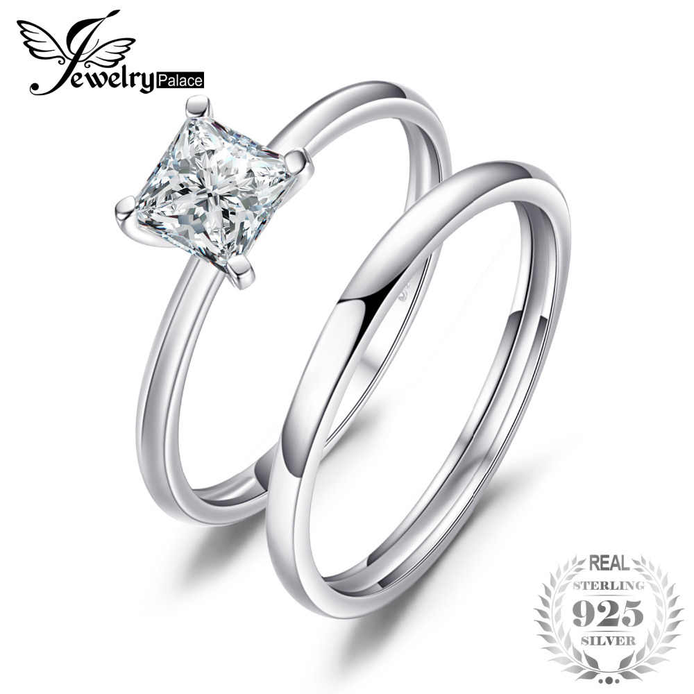 Jewelrypalace Princess Cut 0 6ct Cubic Zirconia Wedding Band Solitaire Engagement Ring Bridal Sets Genuine 925 Sterling Silver