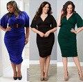 Большой размер сексуальные толстые империи талии тощий платье мода pure color платье женщины flare рукавом плиссированные платья v-образным вырезом краткое платье